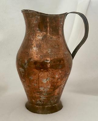 """Hand Wrought Antique Turkish Copper Pitcher - Beautiful Patina - 11"""" Tall"""