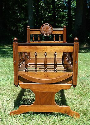 Antique Solid Walnut Wooden Baby Cradle Amazing Carved Bird Design Circa 1850's