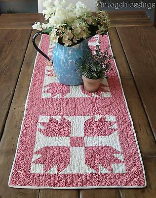 """Sweet Double Pink Antique c1880 Bear Paw QUILT Runner 41 1/4"""" x 14"""""""