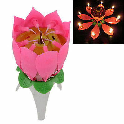 Hot Charming Lotus Candle Birthday Flower Musical Floral Cake Lights Party Gift