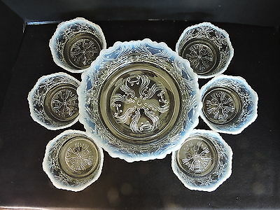 JEFFERSON GLASS White Opalescent Berry Bowl Set #251 Idyll 7 Bowls