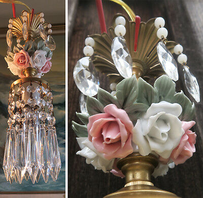 1 mini chandelier lamp Brass Swag crystal vintage Porcelain PINK cabbage Rose