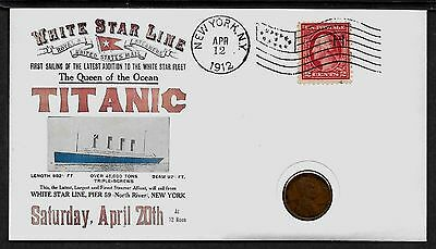 1912 Titanic with 104 year old stamp and coin on a Collector's Envelope *R145