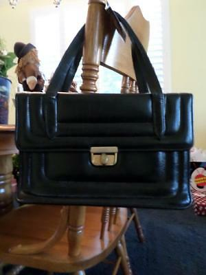 60's Vintage Black Leather Mod Space Age Box Purse Handbag Tote Bag Faye Mell FL