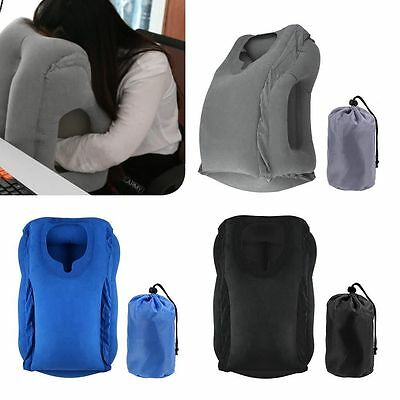 2x Inflatable Air Cushion Travel Pillow Head Neck Sleep Support Camping Flight