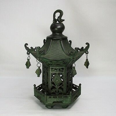 F434: Japanese quality copper hanging lantern of perfect state as ornament