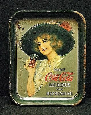 Old Vintage Rustic Green Coca Cola Coke Litho Tin Metal Serving Tray Advertising