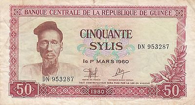 Banknote 1980 Republic of Guinee 50 sylis in very fine condition, popular