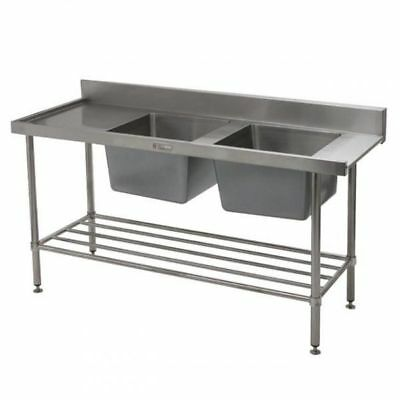 Simply Stainless Double Sink with Left Dishwasher Inlet 1650x600x900mm