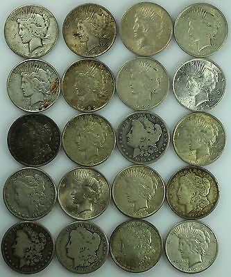 Lot Of 20 Morgan  And Peace Dollars! Roll! Silver! $1! Us Coin Lot #4900B