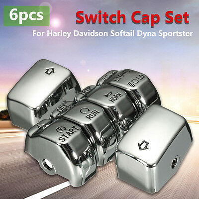 6 Pcs Chrome Control Switch Button Cap Cover Kit For Harley-Davidson Models Dyna