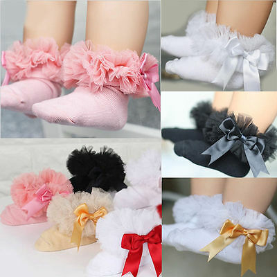 Toddler Cotton  Girls Kids Princess Bowknot Lace Ruffle Frill Trim Ankle Socks