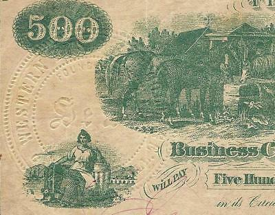 1862 $500 Dollar Galesburgh Ill Seal Western Business College Bank Note Dt Ames