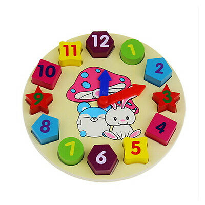 Wooden Digital Clock Puzzle Blocks Kids Learning Time Numbers Educational Toy