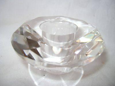 New Beautiful Cut Glass Faceted Round Candle Stick Holder Sil Ch4526