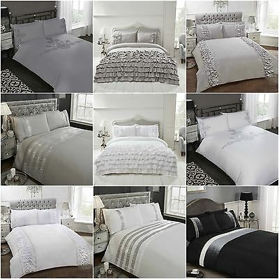 Frilly Ruffle Design Duvet Cover Flamenco Ritz Provence Grey White Silver