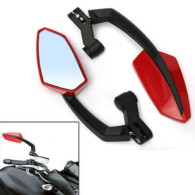 Red 8 10mm Motorcycle Scooter Rear View Mirrors For Suzuki Kawasaki Honda Yamaha