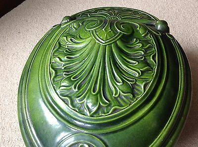 19Th/20Thc Art Nouveau Cast Iron Green Enamel Ware Coal Bin           (499)