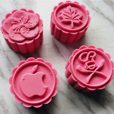 4Pcs DIY Baking Mooncake Mold Pastry Biscuit Cookie Cutters Fower Stamps Mould
