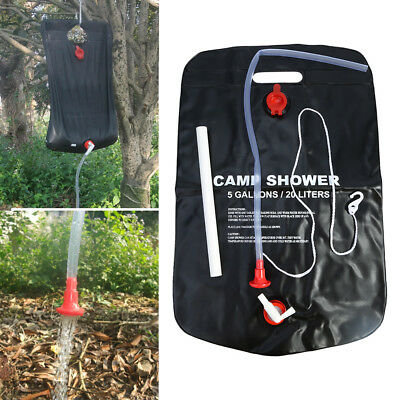 5 Gallon Outdoor Camping Hiking Solar Energy Heated Camp Shower Pipe Bag PVC AF