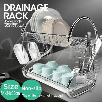 2 Tiers Dish Kitchen Plate Steel Drying Rack Cutlery Drainer Drain Holder Tray