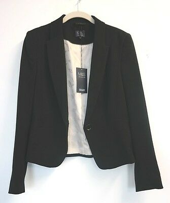 M&S Ladies Single Button Black Blazer, BNWT, Size UK12