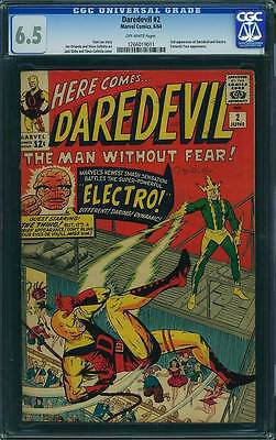 Daredevil # 2  DD Battles the Super-Powerful Electro !  CGC 6.5 scarce book !