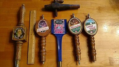 6 Pc Lot Beer Tap Handle Long Trail Hibernator Blue Point Whisky Bung Hole Tap