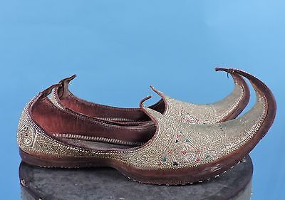 Museum Deaccession 19Th C Metallic Gold Bullion Embroidered Arabian Shoes