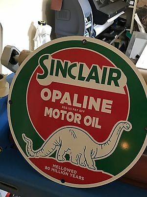"Sinclair Opaline Gas Oil Sign Large 24"" Antique Porcelain Look Vintage Old Style"