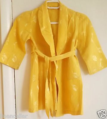 Vintage Robe Child's Yellow Damask Satin Seals Elephants