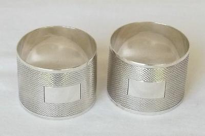 A FINE BOXED LARGE PAIR OF SOLID STERLING SILVER NAPKIN RINGS BIRMINGHAM 1960. b