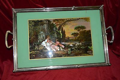 Antique Reverse Painted Foil Arts Metal & Glass Tray  Western Germany Gotta See