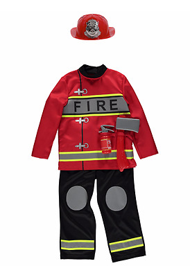 George Fire Fighter Officer Fireman Childrens Fancy Dress Costume Outfit
