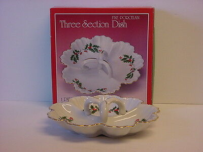 Christmas Holly 3-part Handled Candy Dish Fine Porcelain Japan NIB