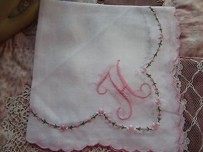 """Vintage White Handkerchief.Monogrammed """"H"""". in Pink Embroidery; Scalloped Edge"""