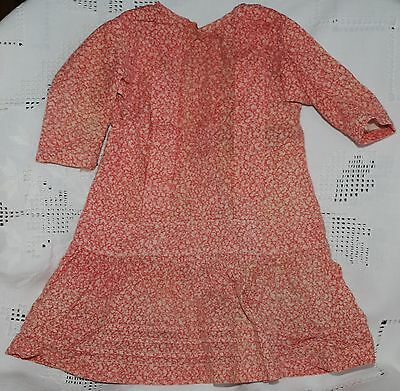Antique Child's HANDMADE PRAIRIE FARM DRESS Red Calico Vintage Textile Girl's