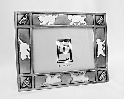 "Pewter Cat Standing Picture Frame 5"" x 3.5"" Animal Kitty Fish Pet Silver"