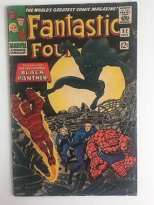 Fantastic Four 52 (1966) VG/FN (5.5)  -  1st app Black Panther. Marvel Key Issue