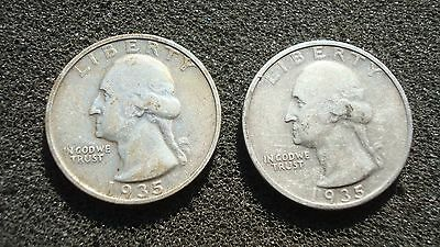 1935 D-S Washington Quarters, 2 Coins, Better, Circulated Condition
