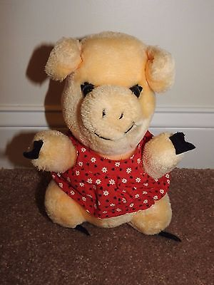 Vintage 1980 Plush Pig Stuffed Animal with Flowered Dress - Very good condition!