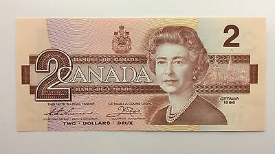 1986 Canada Two 2 Dollars BBV Series New Bill Note Uncirculated Banknote B004