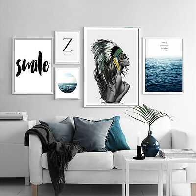 Nordic Decoration Girl Sea Motivational Canvas Art Poster Modern Home Decoration