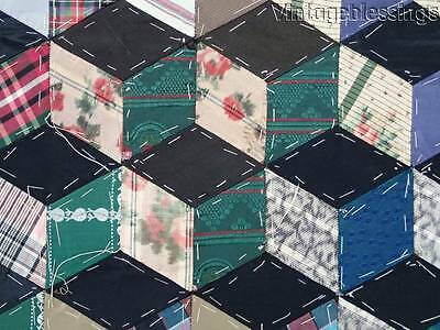 Collectors Alert! Dated 1878 TUMBLING BLOCKS Paper Pieced QUILT TOP