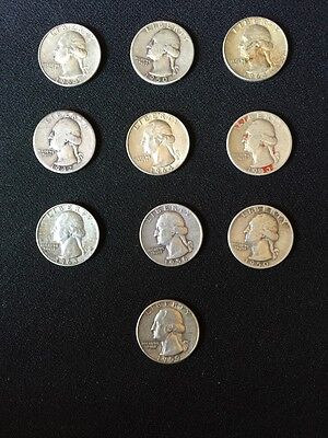 Ten 1964 And Before Silver Quarters