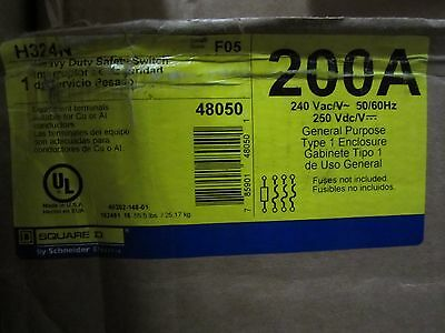 NEW IN BOX Square D H324N Fusible HD 240V 200A 3P Heavy Duty Safety Switch