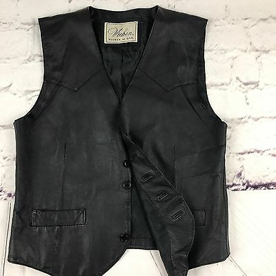 Genuine Men's Leather Motorcycle Vest By Vichen Of USA Sz L