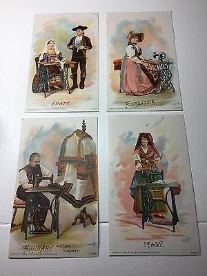 Victorian Trade Card - Singer Mfg Company - Set of 4 cards - copyright 1892