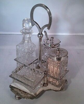 Antique  4pc cut glass and silver plated condiment cruet  set