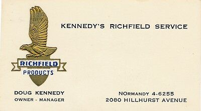 Richfield Products Service Station Business Card Los Angeles 1960's Embossed